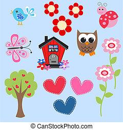 owl love flower butterfly tree