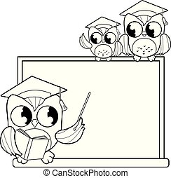 Owl teacher, chalkboard and students at classroom. Vector black and white coloring page