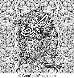 Owl with Glasses Coloring Page Vector Poster