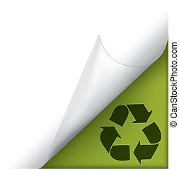 Page curled corner with recycle sign