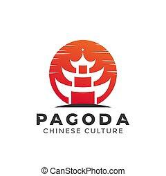 Pagoda Japan logo design element vector illustration. Chinese Japanese Culture