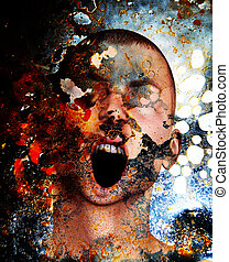 Concept image showing a screaming man in pain and torment.