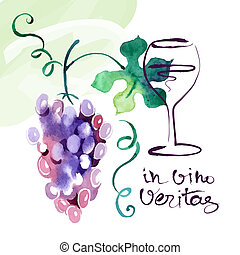Painted watercolor card with grape leaves. Vector illustration