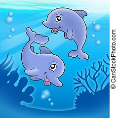 Pair of cute playing dolphins