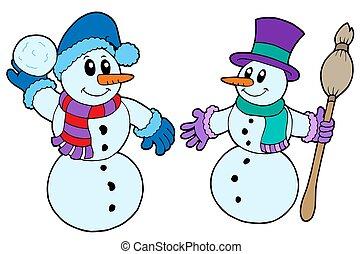 Pair of cute snowmen