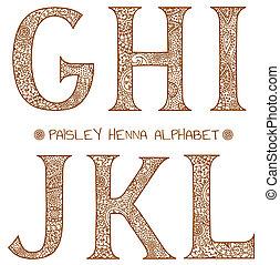 paisley henna alphabet g,h,i,j,k,l