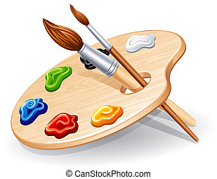 Wooden palette with paints and brushes - vector illustration.