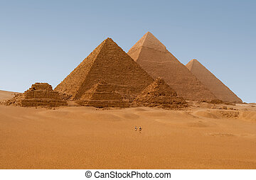 Panaromic view of six Egyptian pyramids in Giza, Egypt