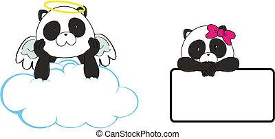 panda bear angel cartoon copyspace