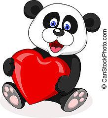 Panda cartoon with red heart