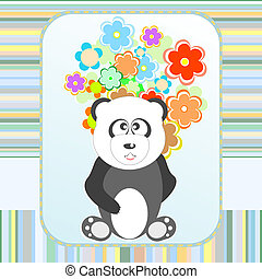 Panda in love with flowers holiday card Vector
