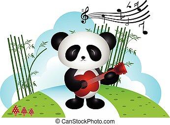 Panda playing guitar in the park