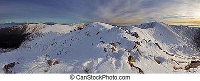 Panorama winter landscape mountain, Slovakia