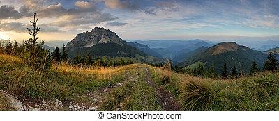 Panoramic mountain fall sunset landscape, Rozsutec