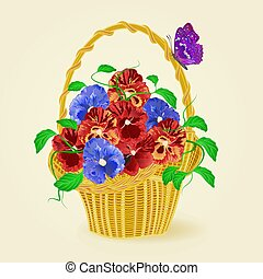 Pansies in a basket with butterfly vector