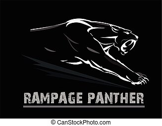 fang face muscular panther, roaring and crawling in the dark. white line art on the black background. exotic panther.