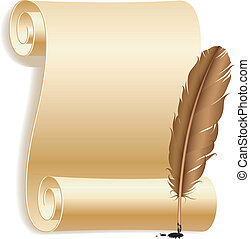 Old paper scroll and feather.
