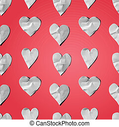 Paper hearts - seamless art craft pattern, vector eps10 image.