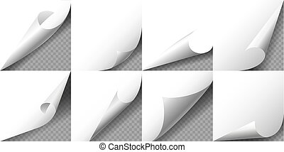 Paper Page Curled Corners set. Vector illustration.