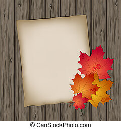 Paper sheet with autumn leaves