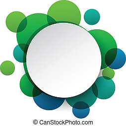 Vector illustration of white paper round speech bubble over green background. Eps10.