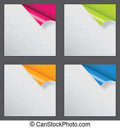 Papers with different corner and place for your text. vector illustration