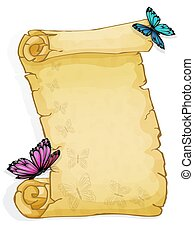 Parchment with butterfly isolated on white background