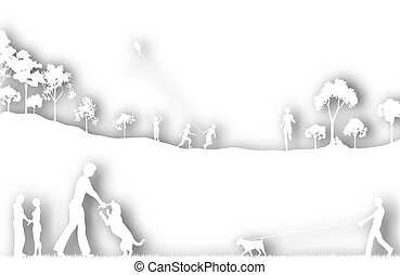 Editable vector cutout of a city park with background shadows made of two separate gradient meshes