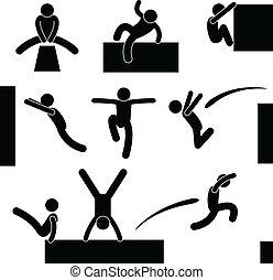 Parkour Man Jumping Climbing Leap