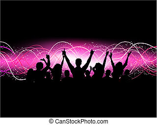 Silhouette of an excited crowd on an abstract background
