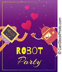 Party robots with audio equipment in retro futuristic style and love hearts cartoon vector illustration.