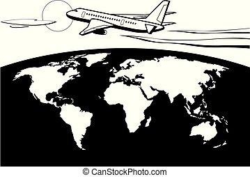 Passenger airplane flying around the world