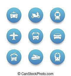 Passenger transport icons set, bus, subway, tram, train, taxi, car, airplane, cab, ship, public transportation signs