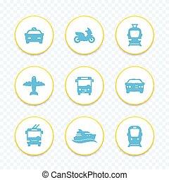 Passenger transport icons set