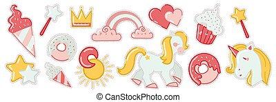Patch badges doodle set