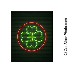 Patricks Day Neon sign and green brick wall. Realistic sign. National holiday symbol in Ireland. Irish Shamrock. Template night banner.