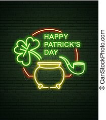 Patricks Day Neon sign and green brick wall. Realistic sign. National holiday symbol in Ireland. Irish Shamrock. Leprechaun Pot of gold. Template night banner.