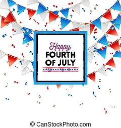 Patriotic red, white and blue Fourth of July card