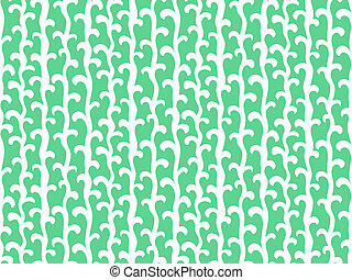 Pattern with vertical vines in aqua green color