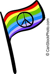 Peace flag, illustration, vector on white background