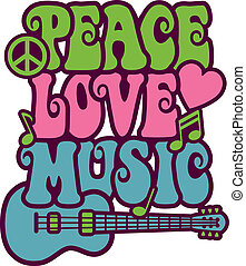 Retro-style design of Peace, Love and Music with peace symbol, heart, musical notes and guitar.