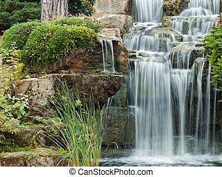 Beautiful water cascade at London's Kew Gardens