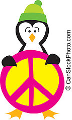 Penguin Holding a Peace Sign