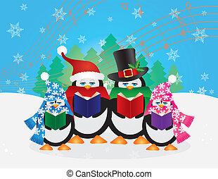 Penguins Christmas Carolers Snow Scene Illustration