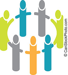 People around circle logo