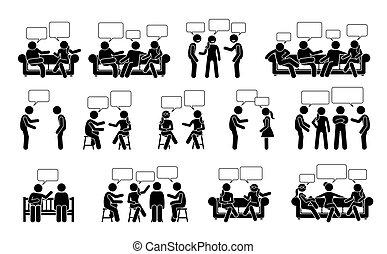 People conversation and communication with one another stick figure pictogram icons.