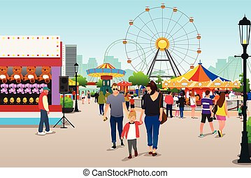 People Going to Amusement Park Illustration