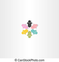 people in circle color logotype element