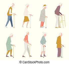 People on the street. Old people in different activities situations collection.
