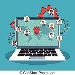 People online around world